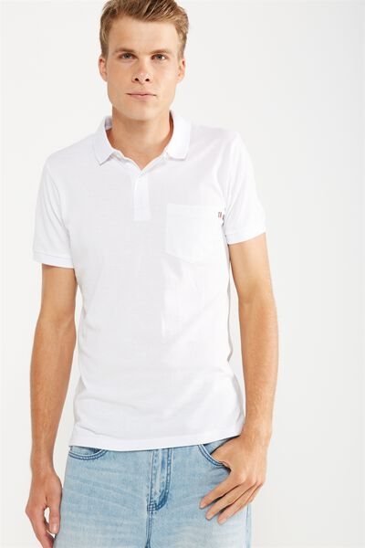 Icon Polo, WHITE/POCKET SLIM