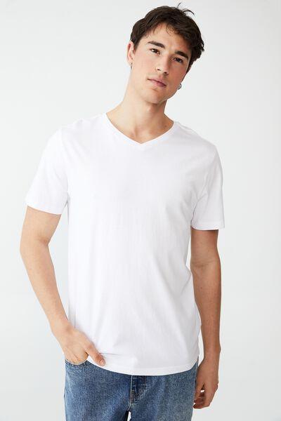 Organic V-Neck T-Shirt, WHITE