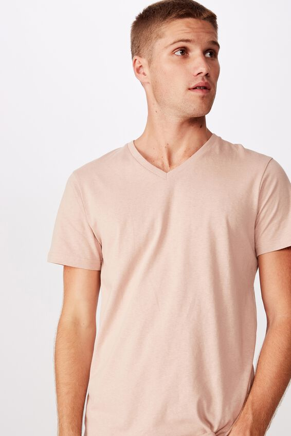 Essential Vee Neck T-Shirt, DIRTY PINK