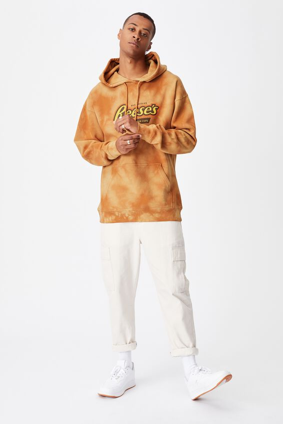Premium Collab Fleece Pullover, LCN HER ORANGE TIE DYE/REESE S LOGO