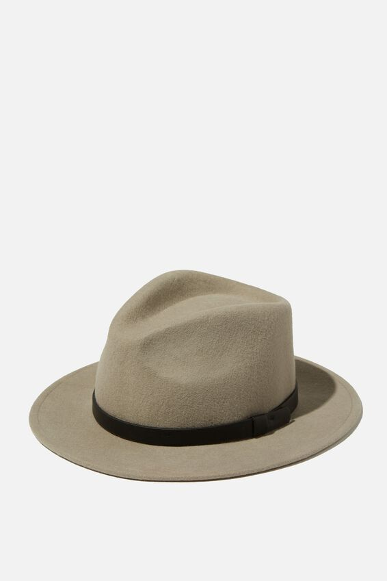 Wide Brim Felt Hat, LIGHT GREY/BLACK