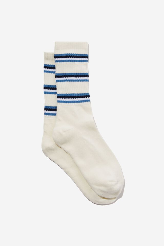 Essential Active Sock, NATURAL WHITE/NAVY/BLUE STRIPE