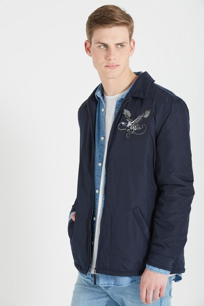 Embroidered Coaches Jacket, NAVY