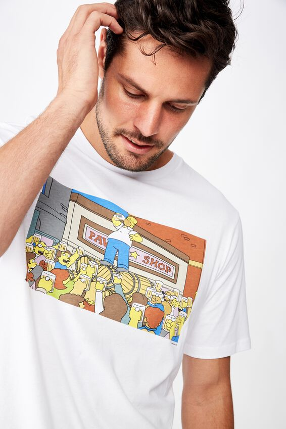 Tbar Collab Movie And Tv T-Shirt, LCN FOX WHITE/SIMPSONS - LIFES PROBLEMS