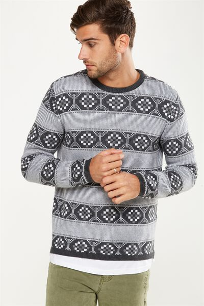 Split Hem Knit, GREY JACQUARD