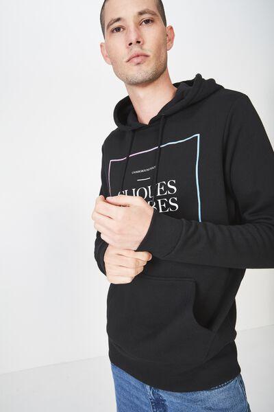 Fleece Pullover 2, BLACK/CLIQUES & TRIBES FADE