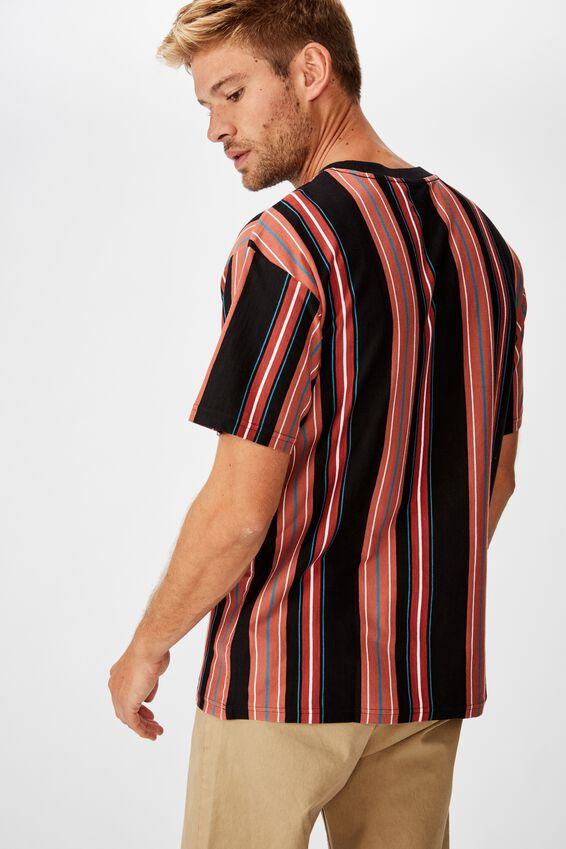 Downtown Loose Fit Tee, RED RANDOM STRIPE