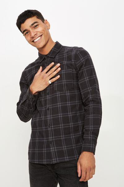 Rugged Long Sleeve Shirt, BLACK GREY CHECK