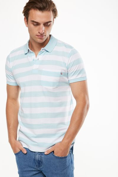 Icon Polo, WHITE SKY STRIPE SLIM