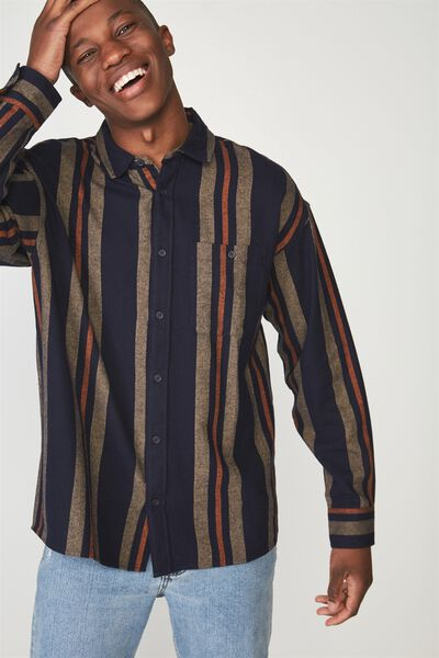 Rugged Long Sleeve Shirt, NAVY TAN VERTICAL STRIPE