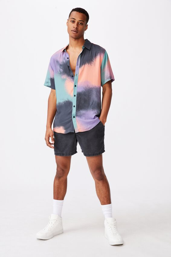91 Short Sleeve Shirt, BLACK MULTI AEROSOL