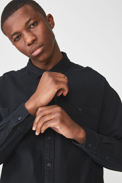 Long Sleeve Workwear Shirt, BLACK DENIM