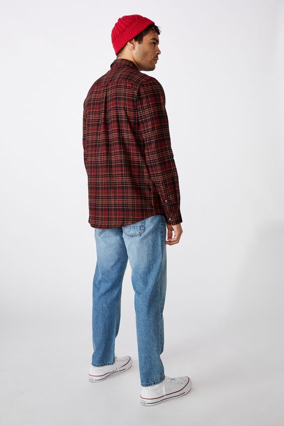 Rugged Long Sleeve Shirt, BURNT ORANGE CHECK