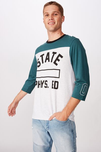 Tbar 3/4 Baseball Tee, DEEP SEA TEAL/WHITE MARLE/STATE PHYS.ED