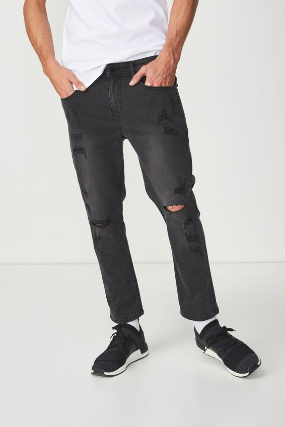 Slim Fit Jean, TRADER BLACK CROP WITH RIPS