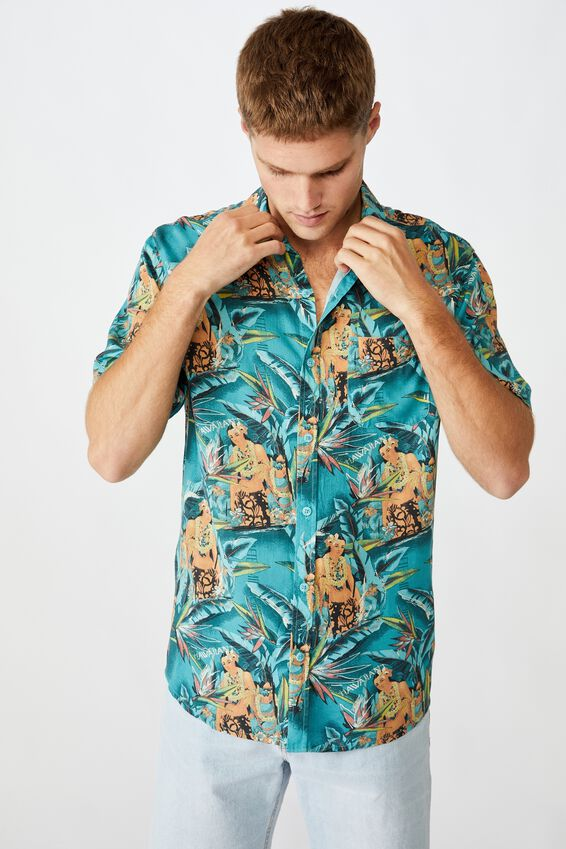 Vacation Short Sleeve Shirt, MULTI PARADISE