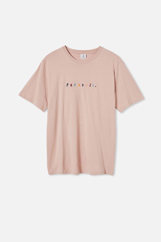 Tbar Text T-Shirt, DIRTY PINK/PARADISE COLOURS
