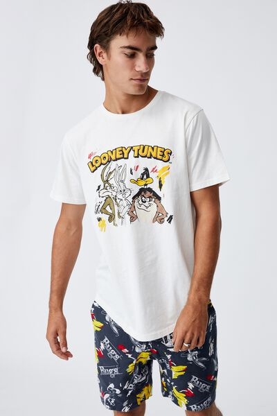 Longline Scoop Lounge T-Shirt, LCN WB VINTAGE WHITE/LOONEY TUNES - GROUP SKE
