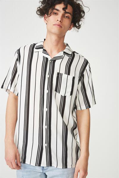 Festival Shirt, WHITE BLACK VERT STRIPE
