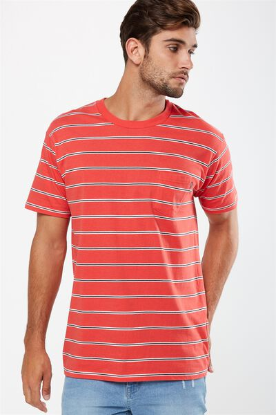 Dylan Tee, RED/WHITE/BLACK SPACED STRIPE
