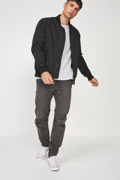 Slim Urban Zip Jean, STORM GREY + RIPS