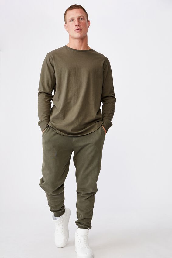 Longline Scoop Long Sleeve T-Shirt, MILITARY