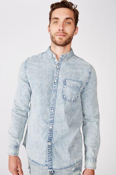 Washed Long Sleeve Shirt, WORN BLUE