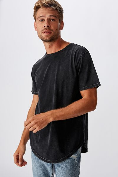 Longline Scoop Burnout Tee, WASHED BLACK
