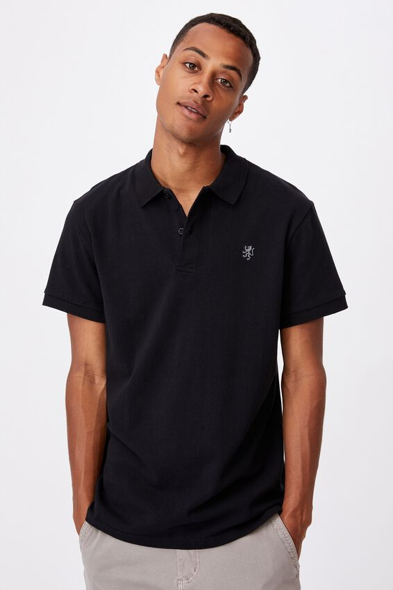 Essential Short Sleeve Polo, BLACK