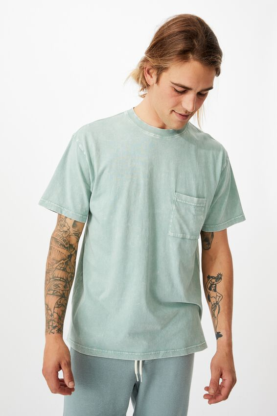 Washed Pocket T-Shirt, WASHED TEAL