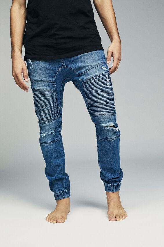 Slim Denim Jogger, LAUNDRY BLUE MOTO RIPS