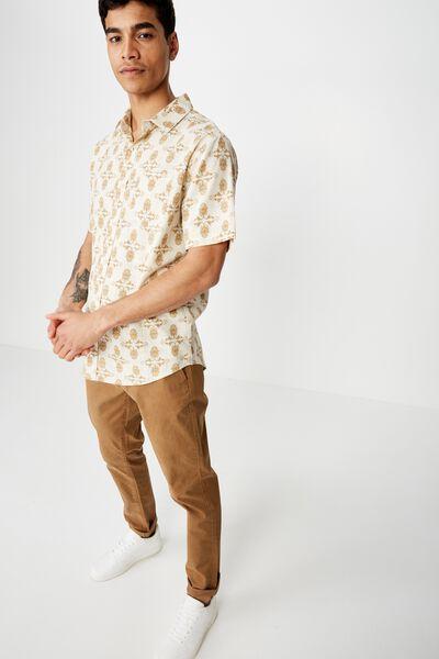 Vacation Short Sleeve Shirt, OATMEAL PAISLY