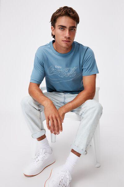 Tbar Collab Pop Culture T-Shirt, LCN CC ADRIATIC BLUE/COKE OUTLINE WAVE LOGO