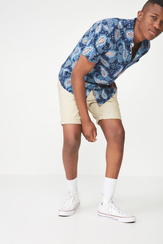Short Sleeve Resort Shirt, PAISLY OCEAN