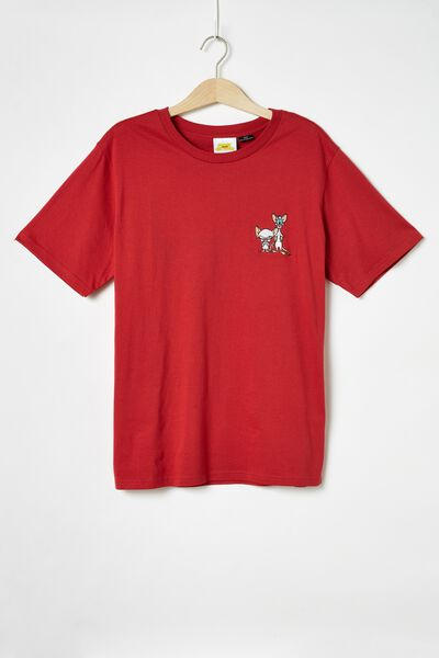 Tbar Collab Cny T-Shirt, LCN WB SK8 RACE RED/PINKY AND THE BRAIN - CHEST