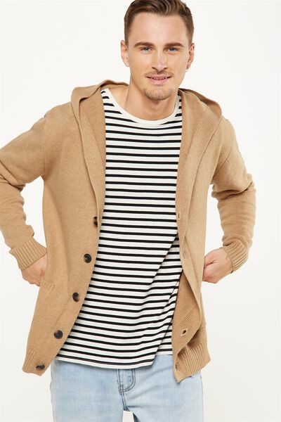 Rugged Hooded Cardi, TAN MARLE
