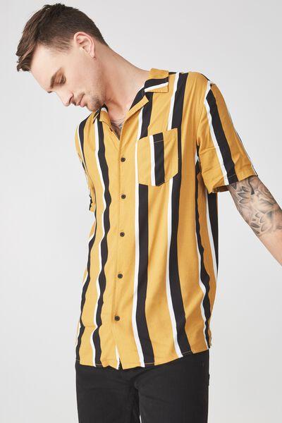 Festival Shirt, TAN BLACK STRIPE