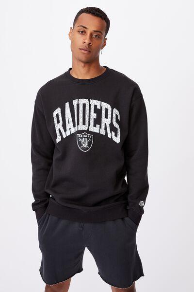 Active Nfl Oversized Crew Fleece, LCN NFL BLACK/RAIDERS