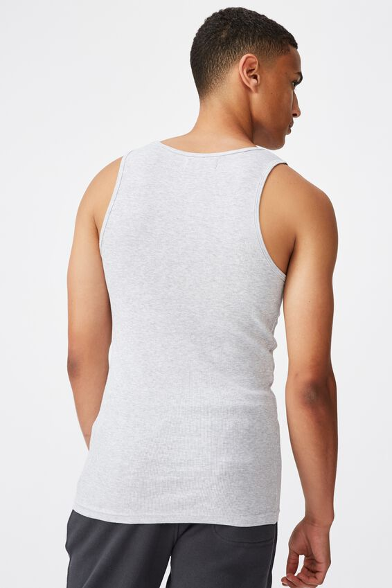 2X2 Rib Tank, LIGHT GREY MARLE