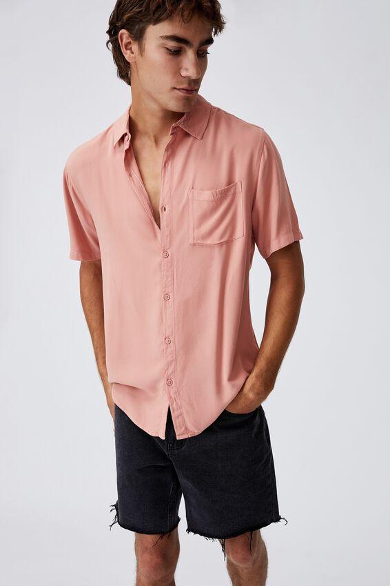 Cuban Short Sleeve Shirt, RED PEACH