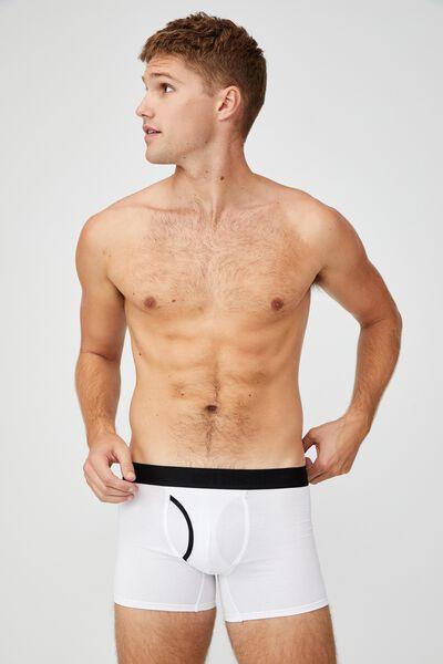 Mens Organic Cotton Trunks, WHITE/BLACK