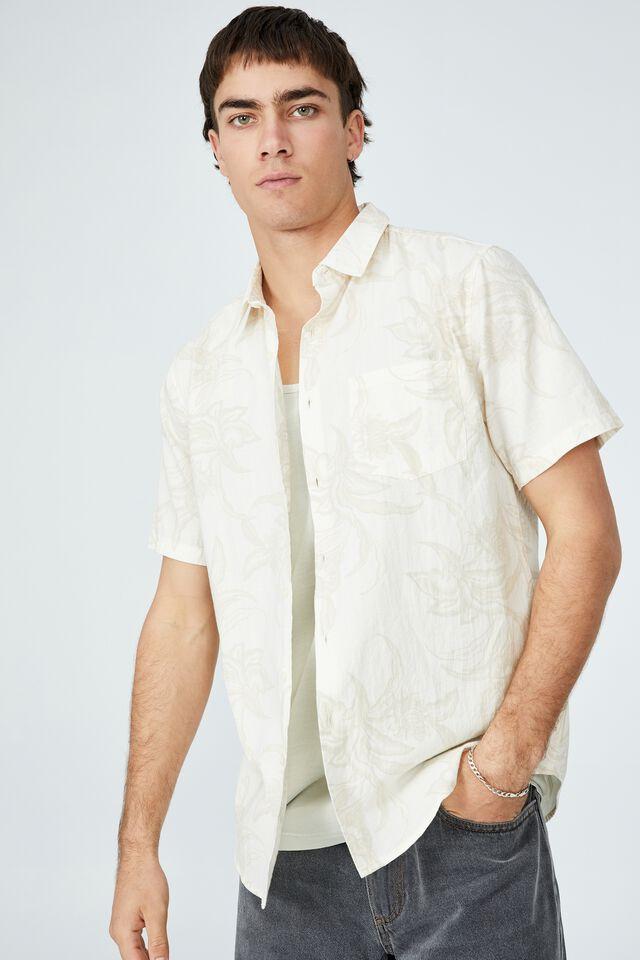 Vacay Short Sleeve Shirt, ECRU 70 S FLORAL
