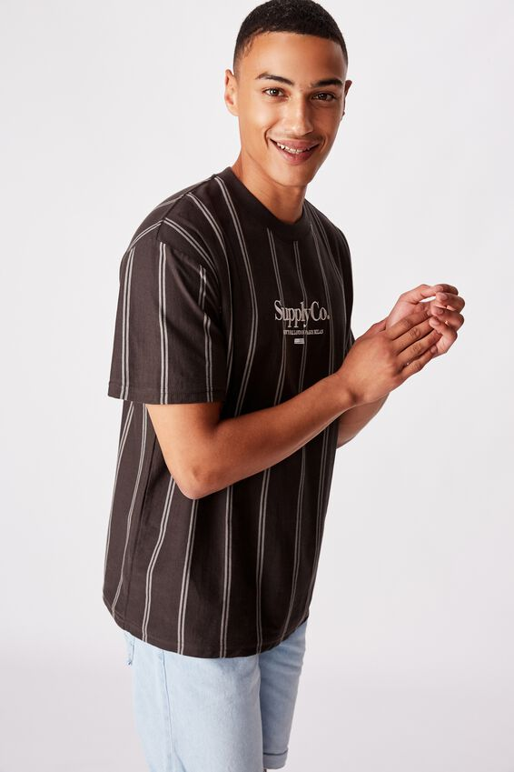 Downtown Loose Fit Tee, DOUBLE SPACE BLACK STRIPE