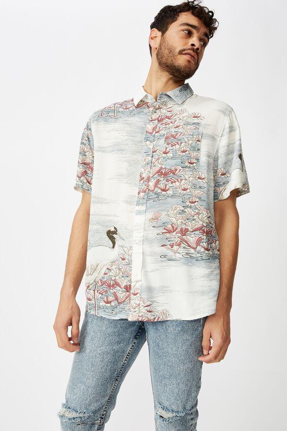 Short Sleeve Resort Shirt, BLUE ABSTRACT SPLICED