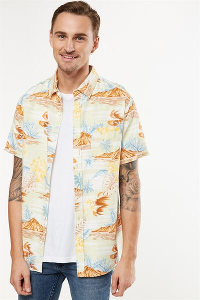 Vintage Prep Short Sleeve Shirt, LIME HAWAIIAN PRINT