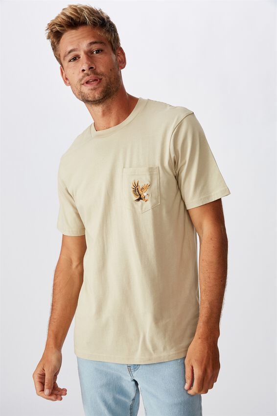 Tbar Art T-Shirt, SK8 PALE SAND/FLYING EAGLE EMBROID