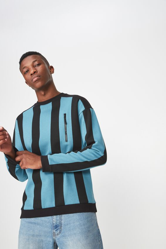 Drop Shoulder Crew Fleece, SEA BLUE/BLACK VERTICAL STRIPE