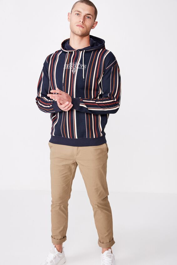 Drop Shoulder Pullover Fleece, INK NAVY/DATCHSHUND BROWN/BARN RED/NY BROOKLYN