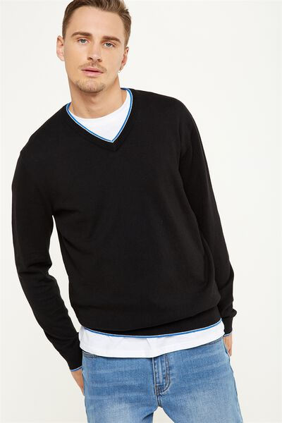 V Neck Knit, BLACK