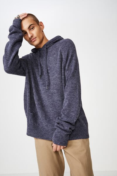 Hooded Sweater Knit, NAVY MARLE